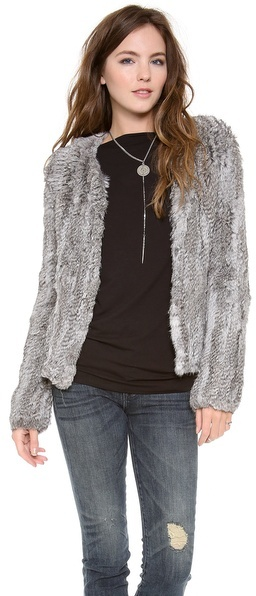 Elizabeth and James Gwen Fur Cardigan