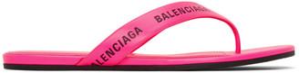 Balenciaga Pink Logo Thong Sandals
