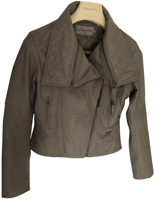 Calvin Klein Grey Leather Leather Jacket for Women