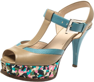 Fendi Multicolor Leather And Lizard Embossed Trim T-Strap Fendista Platform Sandals Size 37