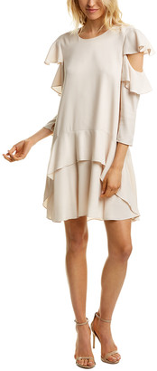 Halston Ruffle Silk-Blend Mini Dress