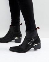 Jeffery West Manero Star Buckle Boots In Black
