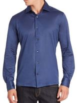 Luciano Barbera Solid Cotton Shirt