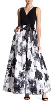 Chetta B Pleated Floral Gown