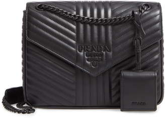 Prada Diagramme Quilted Leather Flap Crossbody Bag