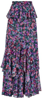 MISA Lucia Floral-print Chiffon Maxi Skirt