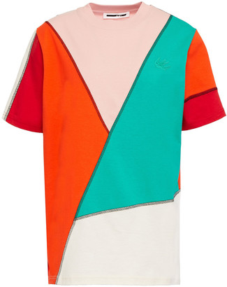 McQ Appliqued Paneled Cotton-jersey T-shirt