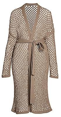 Agnona Women's Open Weave Cashmere Long Belted Cardigan