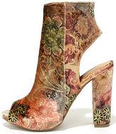 Bamboo Zennia Mauve Multi Velvet Peep-Toe Ankle Booties