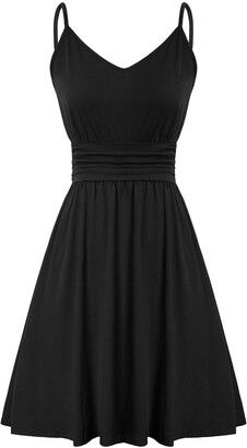 LIUMILAC Women's Adjustable Spahetto Straps Sleeveless A-line Pleated Mini Dresses -2 XL