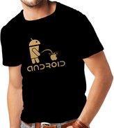lepni.me N4247 T-shirt male Funny Robot and apple ( Black White)
