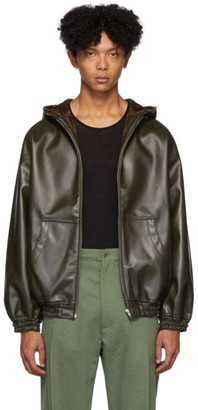Random Identities Green Faux-Leather Hoodie