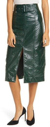 Tanya Taylor Faux Leather Skirt
