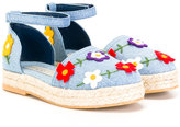 Stella McCartney floral espadrilles - kids - Cotton/Raffia/rubber - 32