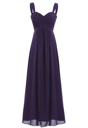 Freebily Elegant Women's Chiffon Bridesmaid Long Dress Empire Waist Prom Evening Gowns Dark Green 14