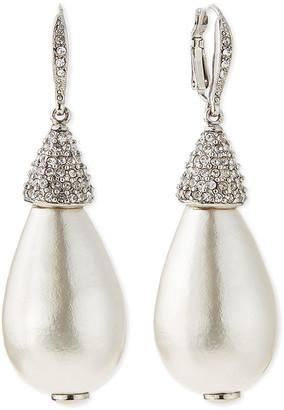 Oscar de la Renta Pearly Crystal Teardrop Earrings