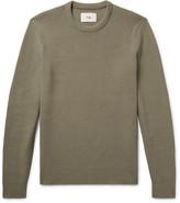 Folk - Slim-fit Elbow-patch Waffle-knit Stretch-cotton Sweater