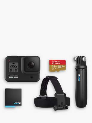 Gopro GoPro HERO8 Black Camcorder, 4K Ultra HD, 60 FPS, 12MP, Wi-Fi, Waterproof, GPS, Bundle with Shorty Grip, Head Strap Mount, SD Card & Additional Battery