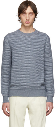 Ermenegildo Zegna Blue and Grey Cashmere and Silk Sweater