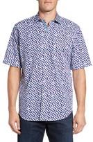 Bugatchi Men's Classic Fit Print Short Sleeve Sport Shirt