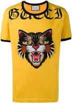 Gucci angry cat appliqué T-shirt
