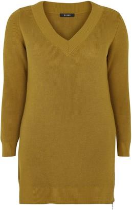 Evans Yellow V-Neck Zip Hem Tunic Jumper