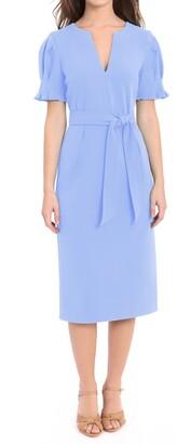 Donna Morgan Puff Sleeve Waist Tie Midi Dress