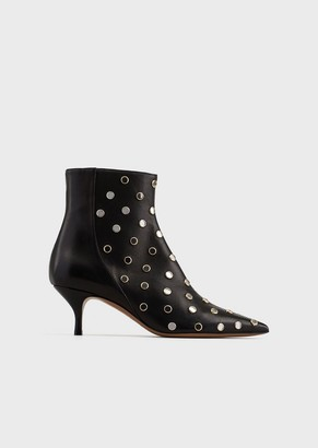 Emporio Armani Heeled, Nappa Leather Ankle Boots With All-Over Mirror Details