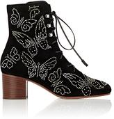 Valentino Garavani WOMEN'S STUDDED BUTTERFLY SUEDE ANKLE BOOTS
