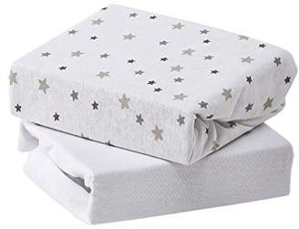 Baby Elegance Jersey Sheets Travel Cot, Grey Star, Pack of 2