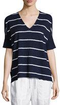 Eileen Fisher Striped V-Neck Short Sleeve Top, Petite