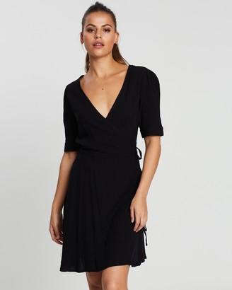 NA-KD Wrap Puff Sleeve Mini Dress