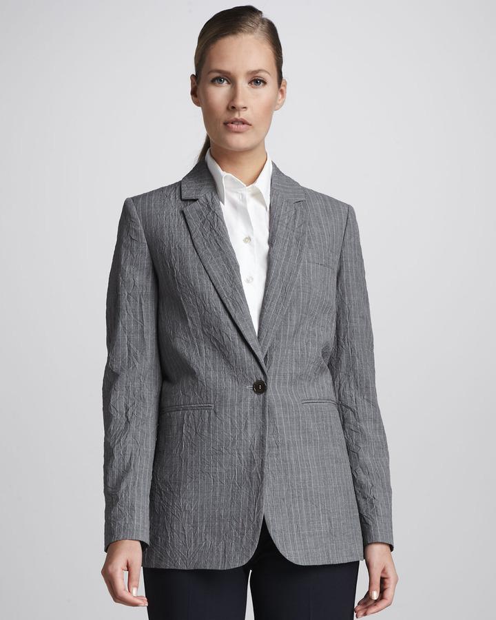 Michael Kors Crinkled Pinstripe Blazer