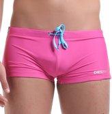 DESMIIT Men's Rope Waist Solid Color Swimming Trunk, Pink, US Medium / ASIAN XL
