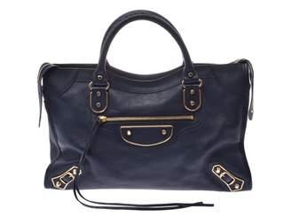 Balenciaga Classic Metalic Navy Leather Handbags