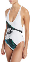 Proenza Schouler Strappy Crossback Graphic-Print One-Piece Swimsuit