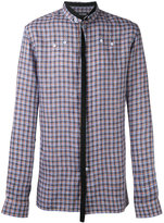 Raf Simons neck strap checked shirt - men - Linen/Flax - 46