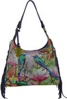 Anuschka Hand Painted Leather Fringe Shoulder Hobo Bag