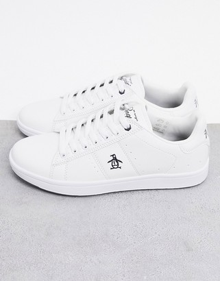 Original Penguin steadman lace up sneakers in white