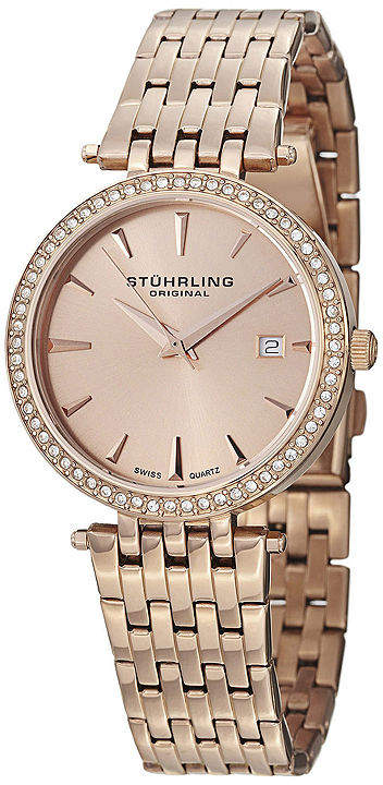 Stuhrling Original Sthrling Original Womens Crystal-Accent Rose-Tone Stainless Steel Watch