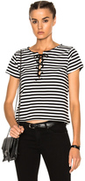 Mother Goodie Goodie Top in Black,Stripes,White.