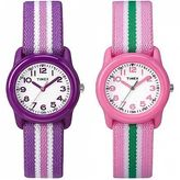 Timex Youth | Kids Elastic Strap Spriped Strap Minutes Indicators | Girls Watch