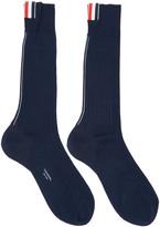 Thom Browne Navy Striped Socks