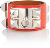 Hermes Estate Leather Bracelet w/ Studs, Pink