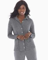 Soma Intimates Cool Nights Long Sleeve Notch Collar Pajama Top Playful Dot Heather Graphite