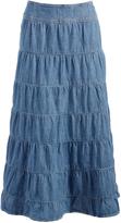 Live A Little Light Blue Denim Tiered Maxi Skirt