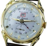 Bulova Day Date Gold Plated with Stainless Steel Vintage 34mm Mens Watch