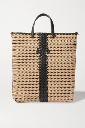 Anya Hindmarch Neeson Tall Woven Leather-trimmed Rope Tote - Neutral