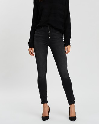 Only High-Waisted Button Skinny Ankle Jeans