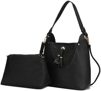 MKF Collection by Mia K. Women's Hobos Black - Black Perforated Tassel Convertible Hobo